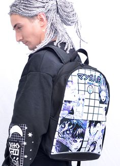 Manga Life Aesthetic Grid Backpack | In Control Clothing