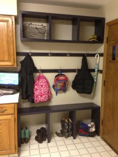 Mud Room in the Kitchen | Do It Yourself Home Projects from Ana White