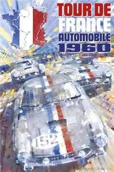 PEL217: '1960 Tour de France Automobile' by Dexter Brown - Vintage car posters - Art Deco - Pullman Editions - Ferrari