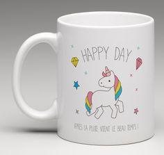 """Mug licorne """" Happy day """" création le monde de Bibou"""