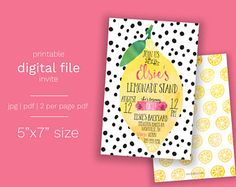 Lemonade Birthday Invitation - DIGITAL FILE Lemon Party Summer Birthday Pink Lemonade Party Invite Girl Birthday Fruit Birthday Invite