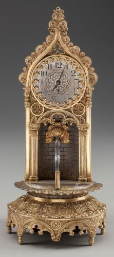 Timepieces:Clocks, A LOUIS PHILIPPE GILT BRONZE AND CUT-GLASS FOUNTAIN CLOCK, circa1820. 10-3/4 inches high (27.3 cm). FROM THE JEAN AND GRA...