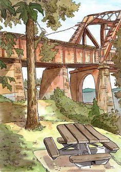 Locks Drawbridge by Steven Reddy Watercolor ~  x