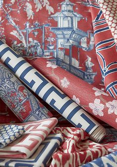 Thibaut Cheng Toile Red and Blue Fabric Orange Fabric, Blue Fabric, Blue Office, Red Home Decor, Red Cottage, Chinoiserie Chic, Textiles, Blue Rooms, Fabric Wallpaper