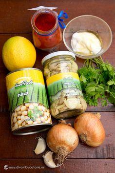 pasta-de-naut-cu-ciuperci-1 Avocado Hummus, Cooking Recipes, Healthy Recipes, Fresh Rolls, Salads, Pasta, Ethnic Recipes, Diva, Dressing