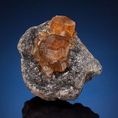 """GROSSULAR var. HESSONITE Jeffrey Mine (""""Johns-Manville Mine""""), Asbestos, Les Sources RCM, Estrie, Québec, Canada  This group of equant, cinnamon brown Hessonite crystals that measure up to 0.74 inches (1.9 cm) across, and they are on the grey/black matrix characteristic of Jeffrey Mine material. The faces of the crystals show brilliant parallel striations that flash brightly as the specimen is moved. It is in pristine condition and is a perfect miniature-size example from this now closed…"""