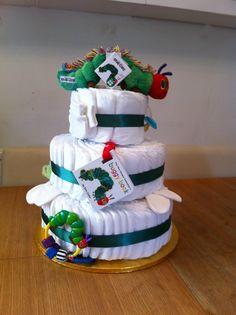 Hungry caterpillar nappy cake