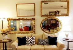 Large gold mirror home decor cheap mirrors wall to wall mirror big bathro. Cheap Mirrors, Hall Of Mirrors, Unique Mirrors, Big Mirrors, Large Gold Mirror, Gold Framed Mirror, Gold Mirrors, Wall Mirror, Spiegel Design