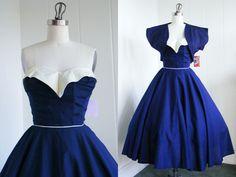 1950's Vintage Miami Guild Blue Day Dress with Sweetheart Neckline and Bolero VLV Rockabilly Viva Las Vegas. $250.00, via Etsy.