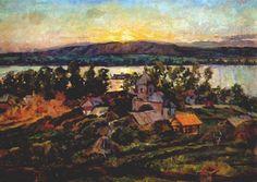 Sunset on the Volga by Aristarkh Lentulov #realism