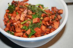 Balsamic Sweet Potato Hash Browns with Wilted Spinach