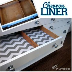 Dressing up a Dresser. Use drawer liner to give your drawers and cabinets a bit of a wow factor!