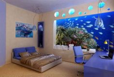 Simply bedroom with a underwater theme.