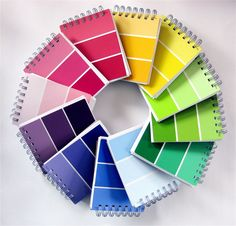 """What Fun! If you have """"binding"""" supplies in your craft supply stock you could make fun mini note books with paint chip cards; or you can purchase one pre-made on Etsy for 8.00 http://www.etsy.com/listing/41516652/choose-your-color-paint-sample-notebook?ref=fp_treasury_1#"""