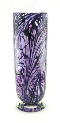 Blown Glass Art   Hand Blown Art Glass Vase - Purple and Black   GLASS.....All Kinds