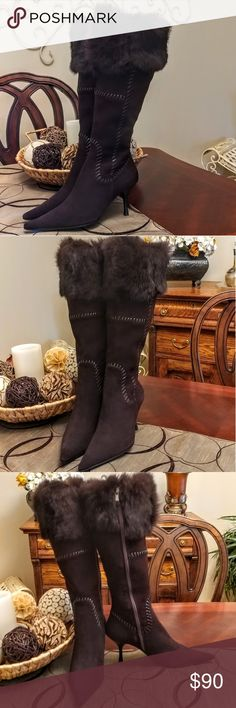 Nancy Li Suede & Faux Fur Boots NWOT 8 Nancy Li Suede & Faux Fur Boots Knee High slim heel  8 NWOT  These elegant boots are BRAND NEW! Faux fur top with a zip on the side. Open to reasonable offers Nancy Li Shoes Heeled Boots
