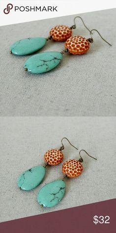 """Turquoise Earrings Bold statement earrings! Genuine, pressed turquoise teardrop stones hang below textured, rust orange beads. Earrings measure 2 3/4"""" long.  NWOT - brand new, never been worn! Anthropologie Jewelry Earrings"""
