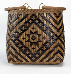 Eva Wolfe River Cane Purse Basket, river cane with walnut dye, 13.25 x 3.5 x 8.5 inches