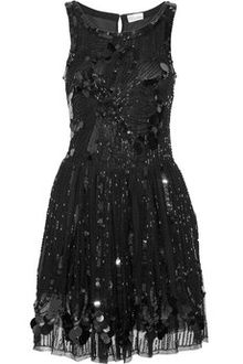 detailed sequin little black dress.