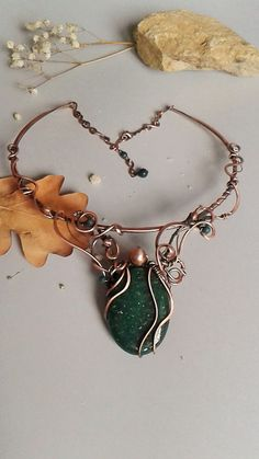 Copper wire fairy necklace with natural Aventurine stone,Copper wire wrapped necklace ,Copper jewelry,Wire jewelry,Fairy jewelry by Tangledworld on Etsy