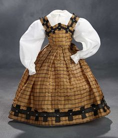 """""""What Finespun Threads"""" - Antique Doll Costumes, 1840-1925 - March 12, 2017: 26 Brown Silk Dress with Lattice Trim and White Cotton Blouse"""
