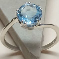 Genuine 2ct Swiss Blue Topaz 925 Solid Sterling Silver Solitaire Ring sz 7 #Solitaire