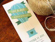 Vers le haut et loin, Save the Date - Hot Air Balloon - Vintage voyage - mariage moderne - ballon Theme - imprimable