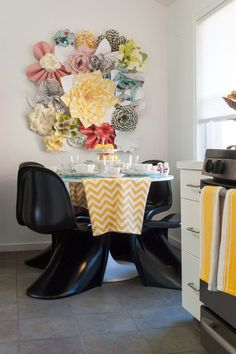 Funky and vibrant -- this modish flower wall design will give your dining area a very happy and inviting vibe!