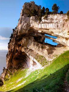 Rare Rock Arch Formation in Massif de la Chartreuse, France