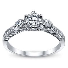 Robins Brothers 14K White Gold Diamond Engagement Ring 1 Carat Total Weight (already includes center stone)