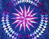 Mariner's Compass Wall Quilt in Purples and Blues