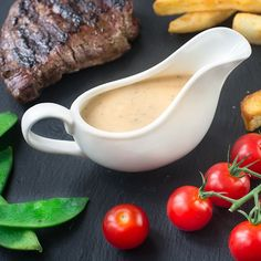 Peppercorn sauce without cream - My quick and easy peppercorn sauce recipe. It's made without cream, instead using milk and other common store cupboard and fridge ingredients so you can whip it up whenever you want. Sauce Steak, Sauce Recipes, Cooking Recipes, Oven Recipes, Cooking Ideas, Yummy Recipes, Dinner Recipes, Yummy Food, Mop Sauce