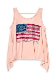 Jessica Simpson Peachy Keen American Flag Tank Girls 7-16