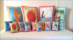 NEW: Mexican Loteria Pillows and Mini Pillows - Just in Time for Dia De Los Muertos / Day of the Dead via Etsy