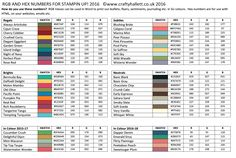 Stampin up Color charts RGB Values Stampin UP updated with 2016-18 In Colours