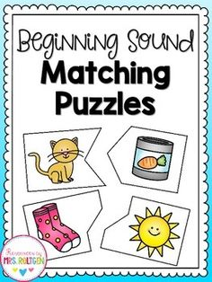 Beginning Sounds Matching Puzzles, then match magnetic letter Kindergarten Reading Activities, Kindergarten Literacy, Alphabet Activities, Literacy Activities, Teaching Reading, English Activities, Reading Resources, Literacy Centers, Guided Reading Groups