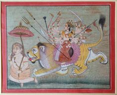 Opaque watercolor, gold, and silver-colored paint on wasli.  From Juniya near Ajmer, Rajasthan India. Devi Durga
