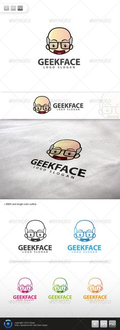 Geek Face Logo - 10  #GraphicRiver         Geek Face Logo is 100% editable and resizeable vectors!  3 design included full color, B&W and single color.  suitable for comunity, service, product, clubs or other related.  Well organized file, All colors and text can be modified, read the instruction readme.pdf  Font:  .fontpalace /font-download/MyriadPro-Bold/  Colour: CMYK Files: .ai / .eps / .eps version 10 / .psd  Size: Resizeable   for Geek face costumize request :zerosgravity7@gmail…