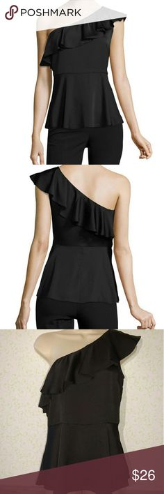 "Worthington One Shoulder Ruffle Blouse Small NWT Brand new blouse! Retails for $36. Across armpit to armpit is about 18"", shoulder to hem is about 25"". Runs a little big. Has a side zip. Bundle and save on 2 or more items, or feel free to make an offer. No trades. Smoke free environment. Worthington Tops Blouses"