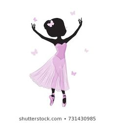 Silhouette of cute little ballerina in pink dress isolated on white background. Print for t-shirt. Romantic hand drawing illustration for children. Ballerina Dress, Little Ballerina, Dance Bedroom, Ballerina Silhouette, Nutcracker Sweet, Ballet Art, Bottle Cap Images, Gold Baby Showers, Baby Room Decor