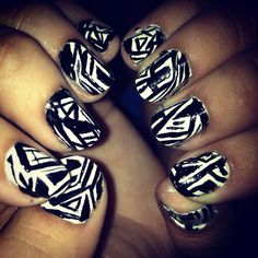 Black and White Picasso nails