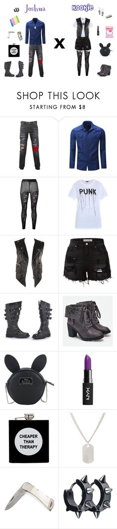 """Joshua x Kookie(O.Cs)"" by psycho-tsundere-fox ❤ liked on Polyvore featuring Philipp Plein, Filles à papa, R13, Balenciaga, LE3NO, Ellie Shoes, JustFab, Disney, Black Orchid and NYX"