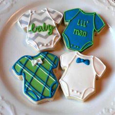 Lil man onesies baby shower cookies