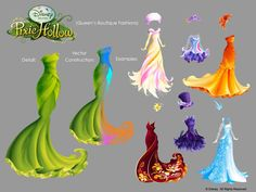 Pixie Hollow dresses in vector (internal work demo)