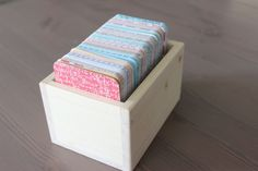 This handmade wooden box is perfect for storing Project Life cards (will hold 500, 3x4 cards), embellishments, die cuts or any other small crafting supplies.