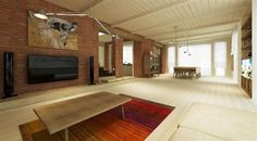 Exposed Brick Feature Living Wall Design And Twin Ceiling Lights