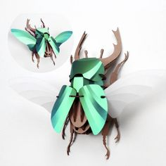 Papieren stag kever - Store Without a Home Paper Animals, Cardboard Paper, 3d Puzzles, Beetle, Wall Design, Interior And Exterior, Modern Design, Wall Decor, Christmas Ornaments