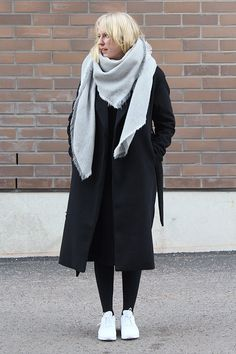 long coat grey oversized scarf white nike sneakers