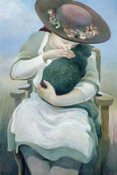 Paintings with people and cats. Sandra Biermann