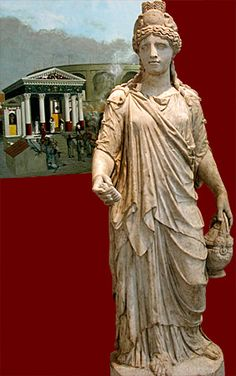 statue of Isis; Roman, 120-150 CE  In her left hand she holds a bucket (situla) used to contain sacred Nile water for the rituals. Behind the statue is a reconstruction drawing of the Temple of Isis in Pompeii showing rituals in progress.   London, British Museum. Credits: Barbara McManus, 2006. Keywords: religion